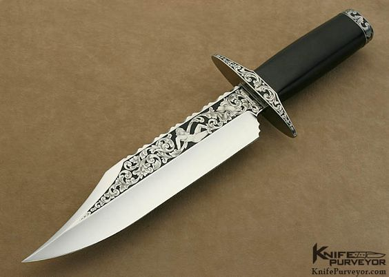 African Blackwood Bowie  Custom Knife by: Fred Weber Engraved by: Martin Rabeno