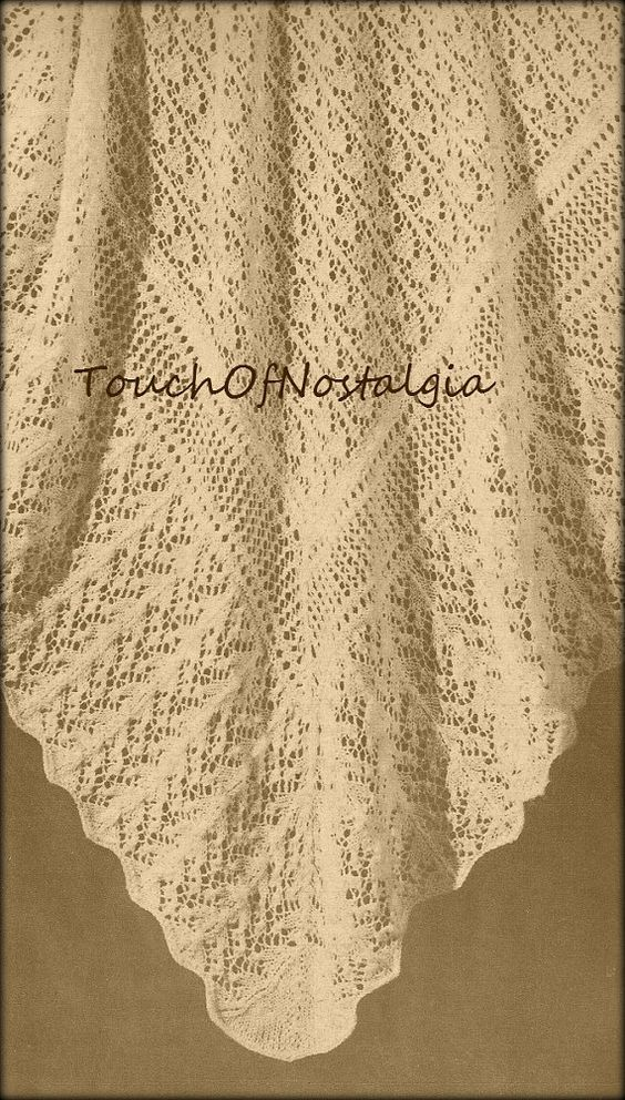 Christening Shawl Knitting Pattern Free : 2 LACY Baby SHAWL Knitting Patterns - Heirloom FAIRY Lace Baby Shawl - Both S...