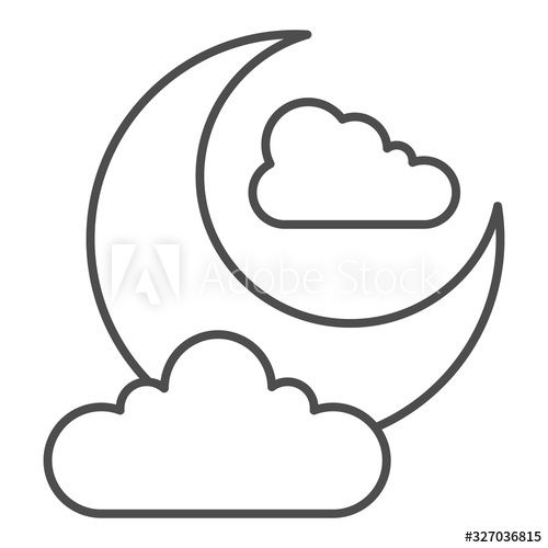 Halloween 2020 Concept Designs Night sky thin line icon. Crescent moon and clouds. Halloween