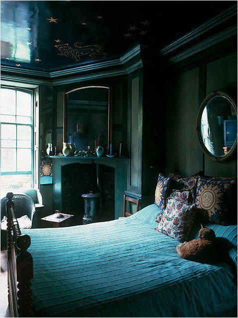 that glossy constellation covered midnight blue ceilingbeautiful dark green bedroom