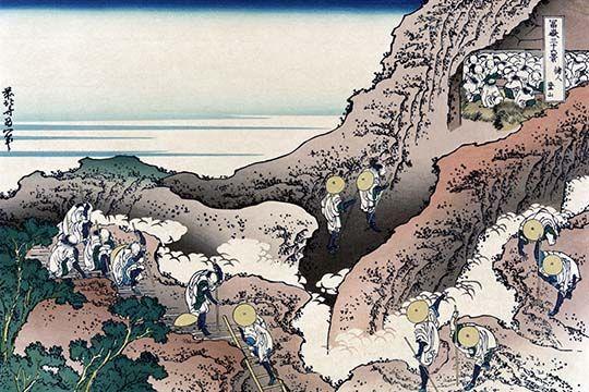 Climbing Mt Fuji By Katsushika Hokusai Art Print Scenic Art Art Prints Katsushika Hokusai
