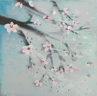 Cherry blossom in a stormy wind