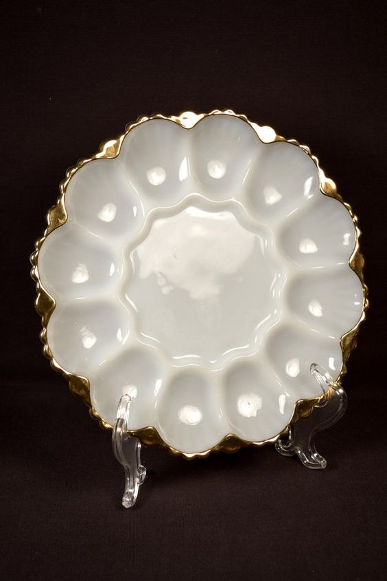 Anchor Hocking Egg Dish Milk Glass Hor D'Oeuvres Tray Gold