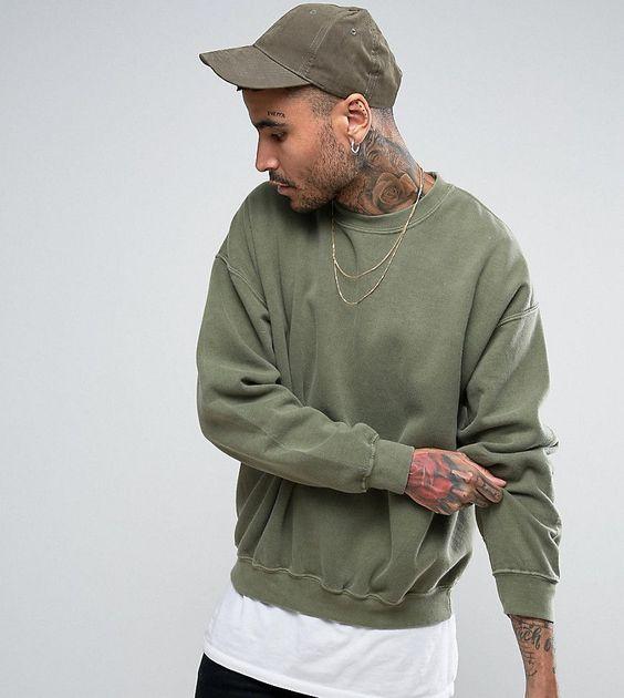 Reclaimed Vintage Inspired Oversized Sweatshirt In Green Overdye Gre Sweatshirts Oversized Sweatshirt Hooded Sweatshirts