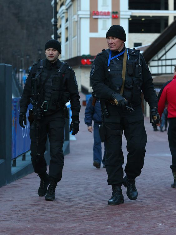 SOCHI, RUSSIA - FEBRUARY 04: Armed police are seen in the Rosa Khutor mountain village cluster prior to the Sochi 2014 Winter Olympics on February 3, 2014 in Sochi, Russia. (Photo by Alex Livesey/Getty Images)