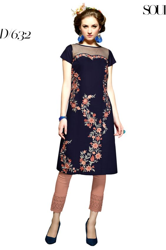 Designer party wear reyon neavy blue kurti with embroidery work 632