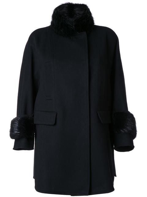 ERMANNO SCERVINO fur collar and cuffs coat. #ermannoscervino #cloth #coat