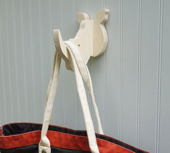 Rhino wall hook: playful plywood rhino head wall hanger for coats, towels, bags, hats, & backpacks - great for a safari theme nursery