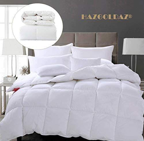 Hazgoldaz Natural White Goose Down Comforter Hypoallergenic King