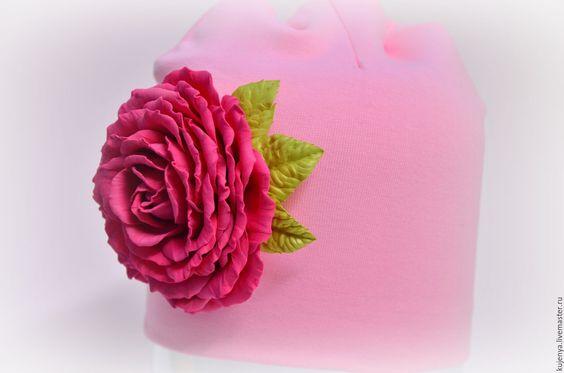 Купить Шапочка для девочки с розой из фоамирана - розовый, шапка для девочки, шапочка для девочки, шапочка с розой