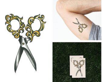 scissors and thimble logo   Corte hacia fuera - tatuaje tempora l (juego de 2) ...