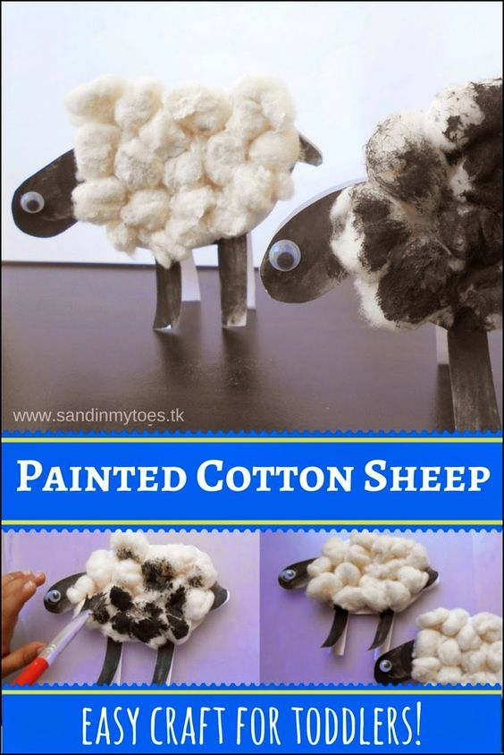 An easy to make sheep craft with painted cotton, and twenty more ideas for easy sheep crafts.