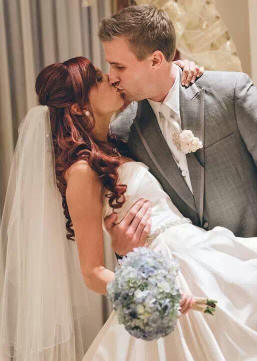 Fall wedding. You may kiss the bride  Hydrangea blue gray fall wedding