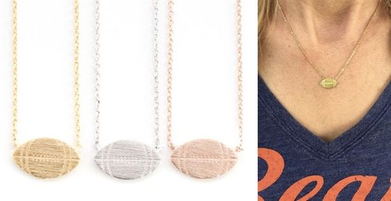 TEAM PRIDE! Stainless Steel Football Necklace available in three color: GOLD, ROSE GOLD or SILVER!