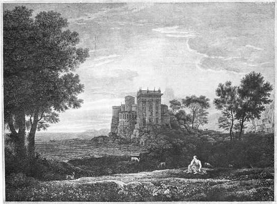 The Enchanted Castle by Claude. An engraving which made a big impression on Keats