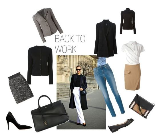 """BACK TO WORK"" by tessabit ❤ liked on Polyvore featuring Ermanno Scervino, Carven, Emporio Armani, Yves Saint Laurent, Tory Burch, Gianvito Rossi, Woolrich, Dolce&Gabbana, Calvin Klein Jeans and Burberry"