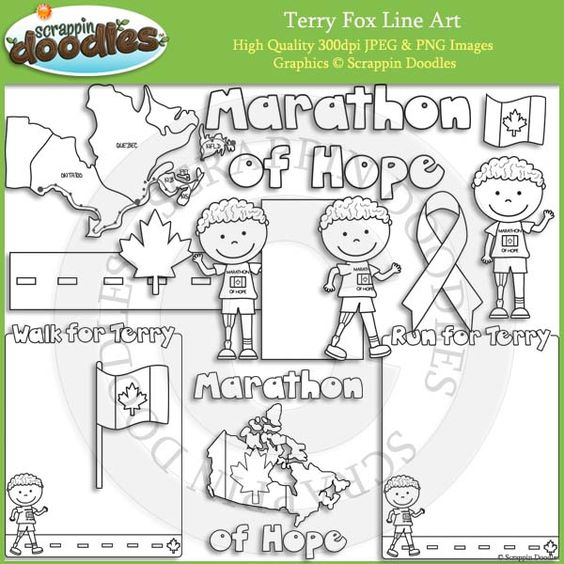 Art Foxes And Terry O Quinn On Pinterest Terry Fox Colouring Pages