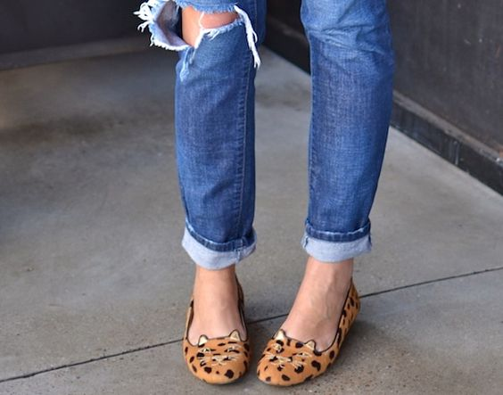 leopard kitty cat kitten loafers.  A new spin on ballet flats that is too fun of a trend to miss