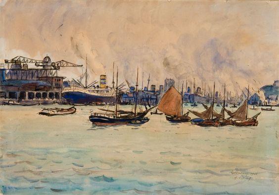 Albert Copieux, Le Port de Rotterdam, 1926, aquarelle sur papier, 13,9 x 22,8 cm © 2005 MuMa Le Havre / Florian Kleinefenn