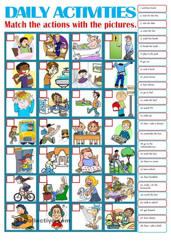 DAILY ACTIVITIES  ESL worksheets of the day  Pinterest