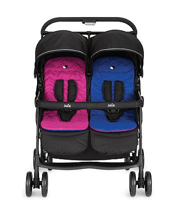 The Joie Aire twin stroller has been designed with plenty of features to help you get out and about with two babies with ease, and the lightweight aluminium chassis, lockable swivel wheels and an all round suspension will ensure your little one's enjoy a comfortable ride.