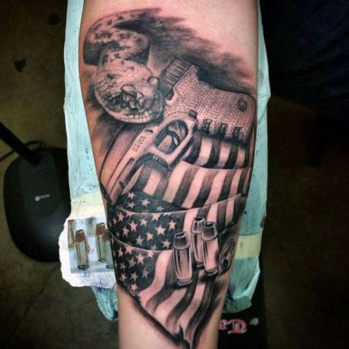 101 Best American Flag Tattoos Patriotic Design Ideas 2020 Guide Bullet Tattoo Tattoos For Guys Flag Tattoo
