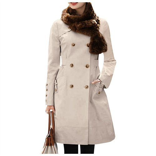 $34, Fashion Lady Double Breasted Button Tab Cuff Elegant Trench Coat Beige Xs by Unique-Bargains. Sold by buy.com. Click for more info: http://lookastic.com/women/shop_items/86930/redirect