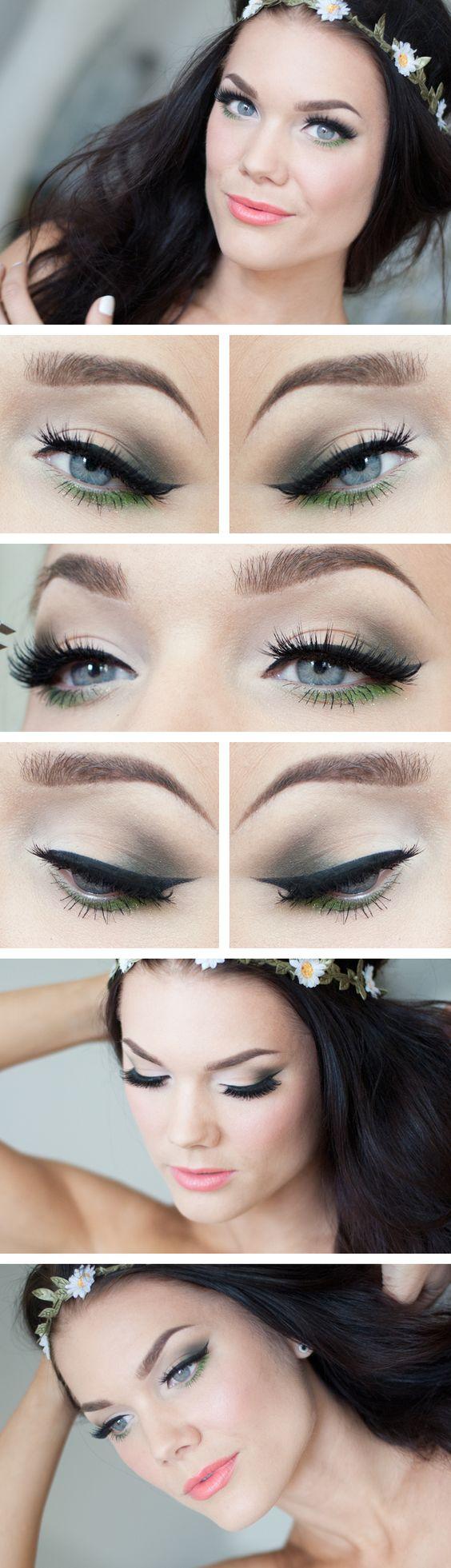 Occhi da gatta con eye liner e matita verde. Scopri come realizzare questo #makeup con le migliori #collezioni >> http://www.youglamour.it/category/bellezza/make-up-2/