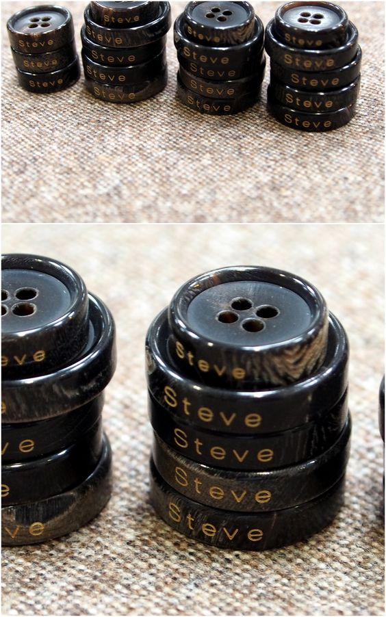 Black pure horn buttons customized for client