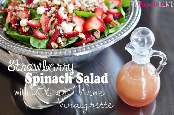 Strawberry Spinach Salad with Feta, Toasted Pecans, and Homemade Blush Wine Vinaigrette | {Five Heart Home}