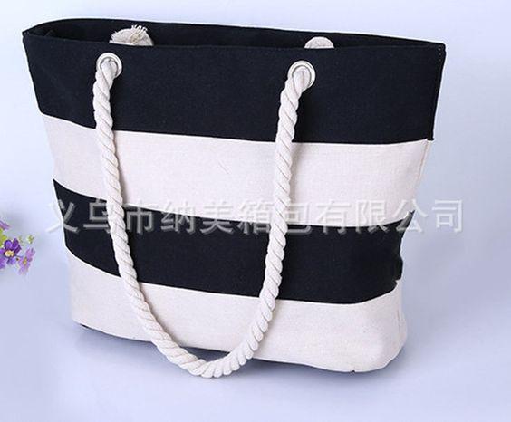 custom print cotton canvas beach bags black white stripe tote bag fashion stripe…