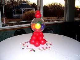 Gum machine balloon centerpiece balloon candy sculpture for Balloon decoration machine