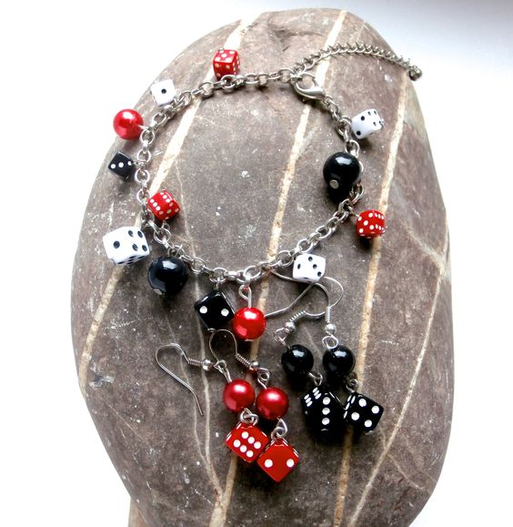 Bracelet / Earrings Set - Black & Red Dice Charms by ReTainReUse on Etsy