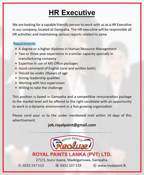 HR Executive at Royal Paints Lanka (Pvt) Ltd Career First - webmaster job description