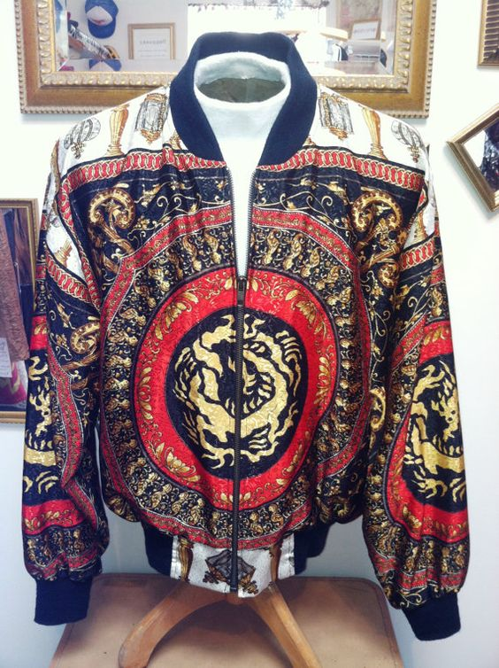 90s Versace Hermes Style Satin Bomber Jacket - Chinese medallion