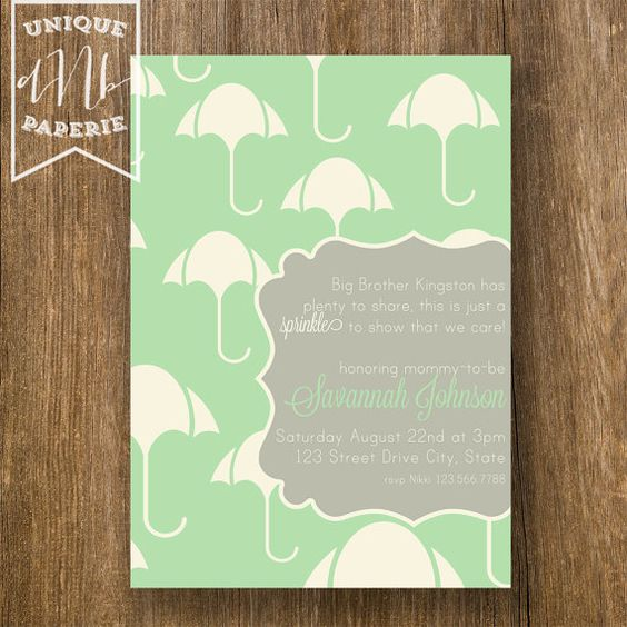Modern Umbrella /// Baby Sprinkle Invitations by designsbynicolina, $24.75