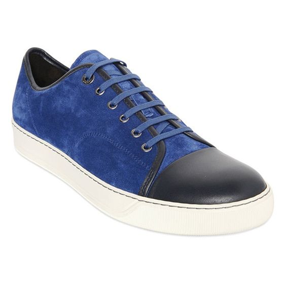Blue Navy Suede Sneakers by Lanvin
