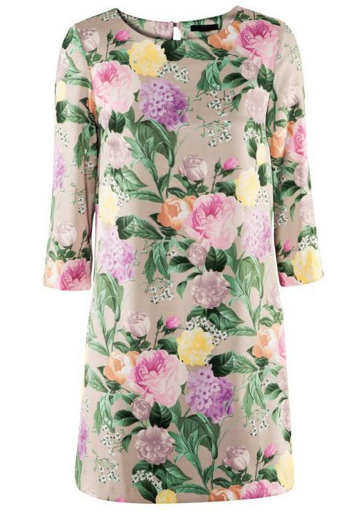 Vestido recto floral cuello redondo espalda dividida-Kaki EUR€17.94