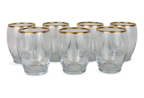 Gilt-Rimmed Cocktail Glasses, S/7