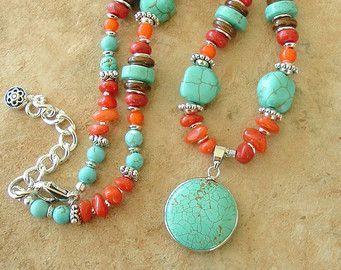 turquoise, coral & silver