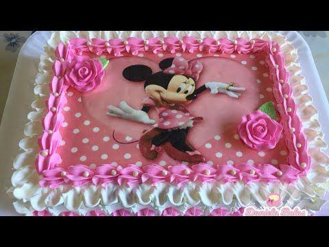 Bolo Minnie Rosa C Papel Arroz Especial Youtube Bolo Minnie