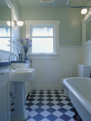 Two story cottage wainscoting inspiration or wainscoting - Bathroom remodel ideas with wainscoting ...