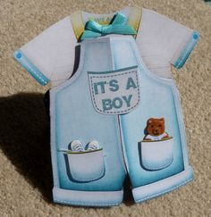 Baby Boy Handmade 3D Greeting Card Boy Romper by hugsfromtheheart