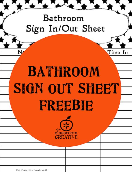 Free Printable Bathroom Sign Out Sheet  Classroom