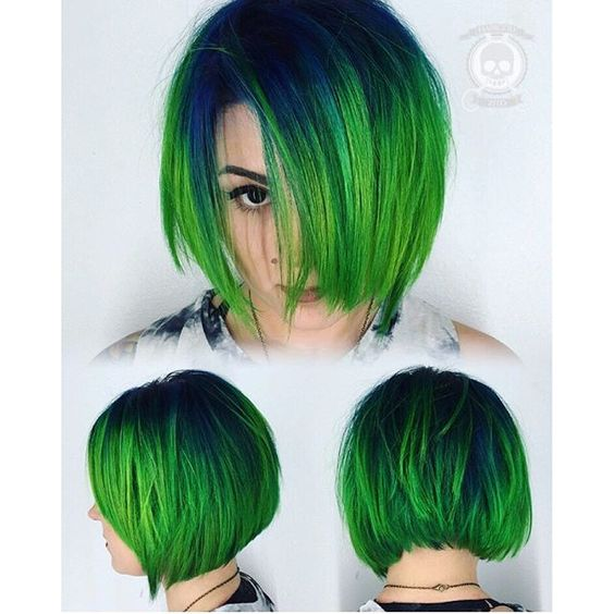 Green hair color hair painting and messy bob hair cut by Rickey Zito. hotonbeauty.com