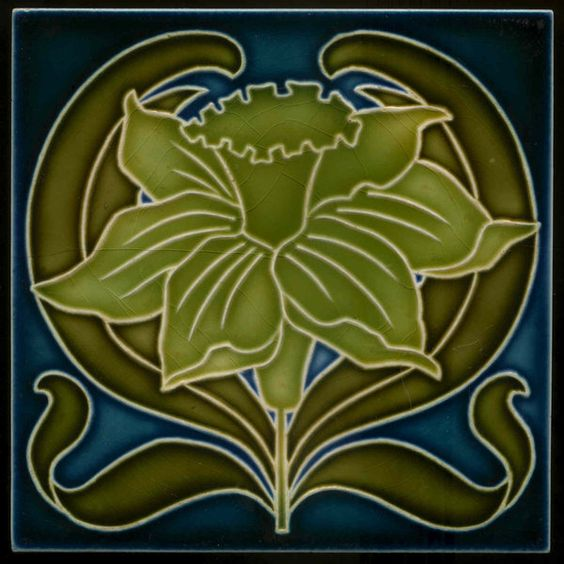 Art Nouveau tile, Wessel, Bonn. 200132 Fine German art Nouveau tile decorated with flower in relief. This tile is made in Bonn, Germany at Wesels Wandplattenfabrik at the beginning of the 20th century. (C 1900-1910) This tile in is excellent condition as can be seen on the picture, little rubbing of glaze around edges. Size 15.2 x 15.2 cm.