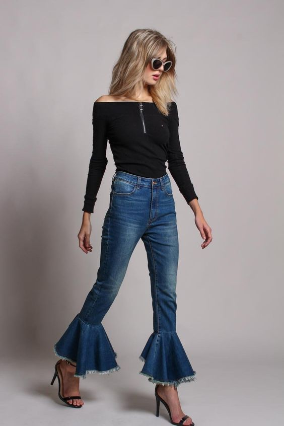 Bailey Ruffle Bell Bottom Jean