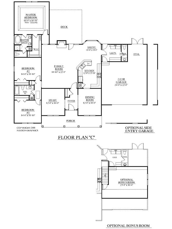 Traditional house plans and the o 39 jays on pinterest for One story house plans with bonus room