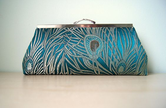 EllenVINTAGE PEACOCK CLUTCH choose your color by JustPeacockEV, $55.00