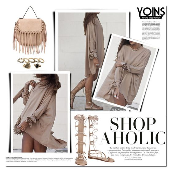 """Yoins - nude."" by tatajrj ❤ liked on Polyvore featuring yoins"